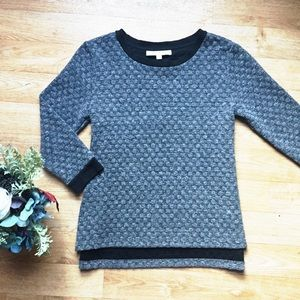 Loft Gray & Black Textured 3/4 Sleeve Work Shirt